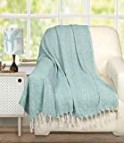 Ramanta Home Farmhouse Throws Blanket with Fringe for Chair,Couch,Picnic,Camping, Beach,Throws for Couch,Everyday Use, Cotton Throw Blanket with Super Soft and Excellent Handfeel 50 x 60 -Aqua White