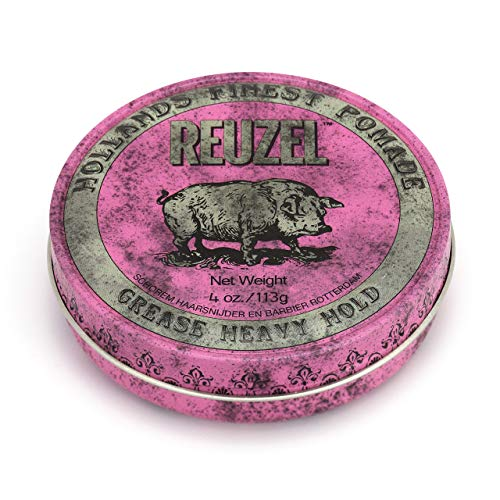 Reuzel - Pink Grease Heavy Hold Pomade - Oil Based & Bees Wax - Provides...