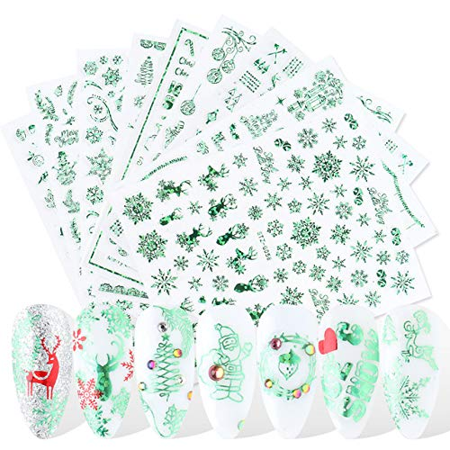 JMEOWIO 9 Sheets Christmas Nail Art Stickers Decals 3D Snowflake Elk Pattern DIY Decoration Tools Accessories Long Beauty for Women Girls Kids(Green)