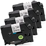 Wonfoucs Compatible Label Tape Replacement for Brother TZ TZe Tape 12mm 0.47 inch Laminated White Brother PTouch Label Maker Tape TZe-231 Work with Brother P-Touch PT-D210 PTH100 PT-1880 4 Pack