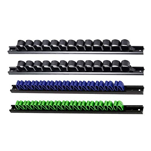 Werkzeughalter 4er Set – Klemmhalter zur Aufbewahrung unterschiedlichster Werkzeuge –Klemmleiste - Wandhalter für Schraubendreher Ringschlüssel Handwerkzeug (2 Schwarz 1 Blau 1 Grün)