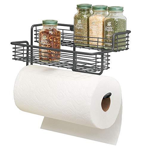 mDesign Portarrollos de cocina – Excelente dispensador de papel en metal con estantes para especias integrados – Práctico soporte de pared para rollo de cocina – gris