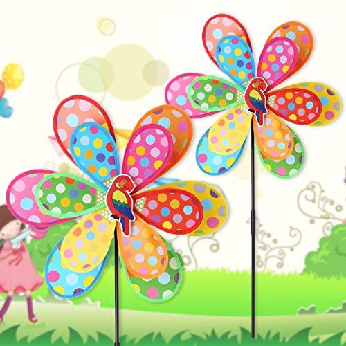 Vektenxi Punkt-Doppelschicht-Windmühlen-Kinderspielzeug, Garten verziert den bunten draußen Wind-Spinner, der langlebig und nützlich ist