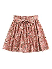Fabric has no stretch,soft and comfortable Ditsy floral print, paper bag frill waist with belted, mid waist, above knee/short Boho style, casual, basic, cute looking with cami top, tee top and blouse Occasions: beach/ vacation/ concert/ causal wear e...