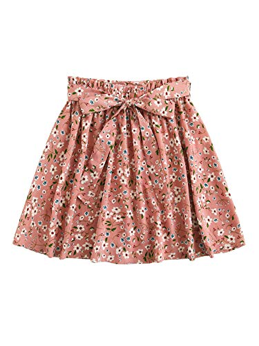 SheIn Women's Summer Floral Print Self Belted A Line Flared Skater Short Skirt Pink