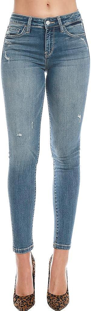 Flying Monkey 5 Pocket Skinny Jeans Mid-Rise Blue Ankle Whiskering