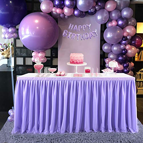 CO-AVE Purple Tulle Table Skirt Lavender Tutu Table Clothing 9ft Ruffle Table Skirts for Rectangle Round Tables for Baby Shower,Birthday,Party Decoration(L 9(ft),H 30in)