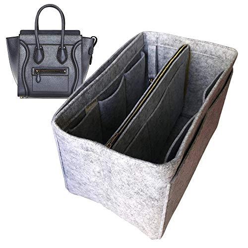 Micro organizador, bolsa de fieltro para insertar bolsa de forro de forro y protector para organizar el bolso (estilo B), gris claro (Gris) - JKS-B-44-Light-Grey