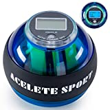 ACELETE Auto-Start 2.0 Power Ball with Counter Digital LCD Wrist Trainer Ball Forearm Exerciser Wrist Strengthener Workout Toy Spinner Gyro Ball with LED Lights