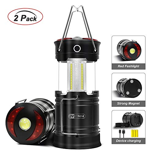 LED Camping Lantern 2 Pack, JYctrone Camping Lanterns Rechargeable with Upgraded Magnetic Base, LED Flashlight Lantern Rechargeable LED Lantern for Emergency, Hurricane, Hiking & Power Outage