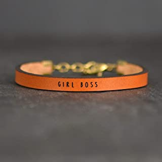 Girl Boss Gifts for Women, Engraved Leather Bracelet, Girl Boss Bracelet, Promotion Gifts For Women