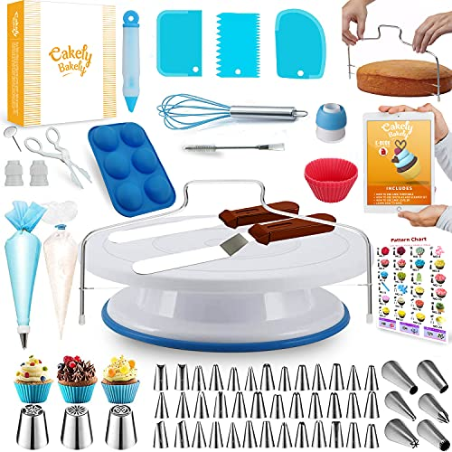 150PCs Cake Decorating Supplies Kit for Beginners-Turntable Stand -48 Numbered Icing Tips & With Pattern Chart & E.Book-1 Cake Leveler-Straight & Angled Spatula-3 Russian Piping nozzles-Baking sets