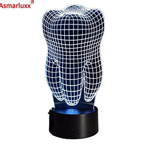 wanmeidp Diente 3D LED Interruptor táctil RGBW 7 Colores de Carga luz de Noche lámpara de Mesa mesita de Noche luz Decorativa