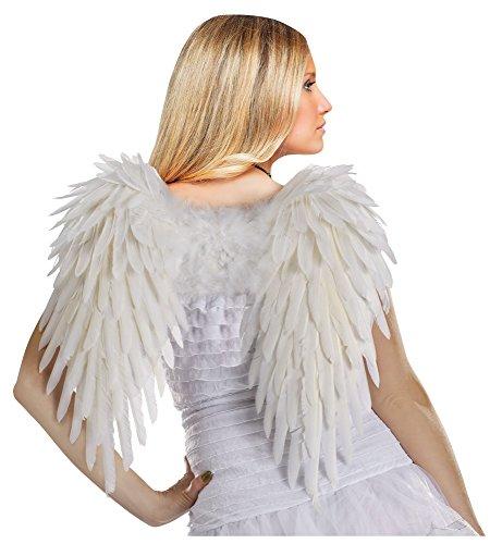 Unbekannt Fun World Kostüme für Damen, weiße Deluxe-Federn, Engelsflügel - Weiß - Standard
