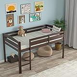 Costzon Loft Bed Twin, Classic Wood Low Loft Bed w/Guard Rail &...