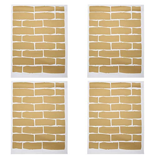 4 stks innovatieve baksteen patroon pvc achtergrond muursticker decoratie voor slaapkamer woonkamer gebruik(Goud)