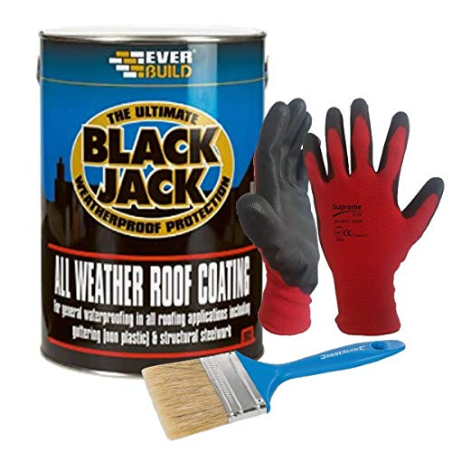 Nassboards Black Jack 905 All-Weather Roof Coating 5Litre - Fast Drying, Weatherproof, Solvent-Based Bitumen Compound - for General Water Proofing and Sealing Different Types of Roof Coverings