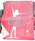 Dorr Dancing Blanket Throw Gift– Ballet Ballerina Dance Theme Teacher Nurse Dancer Step Daughter in Law Teen Teenage Girls - 280 GSM Fleece - 50x60 in - Throw Blanket Gifts for Women (Pink)