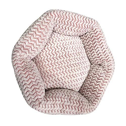 Cama para mascotas sorpresa para perro mullida y redonda de algodón con memoria para mascotas lavable a máquina, cama de felpa para perro gato (70 x 70 x 22 cm), color rosa