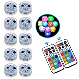 Submersible Led Lights - 10 Pcs Upgraded Waterproof Coloured Tea Light with Remote Control Operated by CR2450 Battery for Pool,Vase,Pond,Aquarium,Fountain,Hot tub and Home Party Decoration