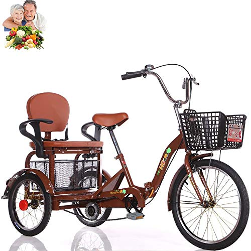 Tricycle Adult 20inch 3-Wheel Bicycle with Rear seat Basket can take People Folding Tricycle Senior Human Pedal Bicycle Mobility and Leisure Tricycle Best Gift for Parents