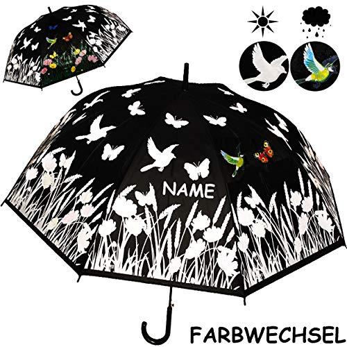 alles-meine.de GmbH großer XL _ Automatik - Regenschirm - Farbwechsel bei Regen - Ø 120 cm - Blumen & Schmetterlinge - inkl. Name - Erwachsene & Kinder - 2 Personen - groß / Auto..