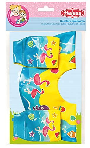 Heless 880 - Schwimm- und Badezubehör-Set für Puppen, 2 teilig mit aufblasbarem Schwimmring mit zwei Schwimmflügeln, für Puppen der Größe 35 cm bis 45 cm