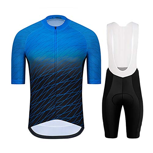 LSZ Men's Quick-Dry Cycling Jersey Set Road Bike Bicycle Shirt Short Sleeves + Bib Shorts with 9D Gel Padded MTB Riding Clothing Kit (Color : Blue B, Size : S)