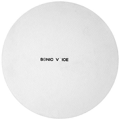 Klangoptimierende weiße Lederauflage für Plattenspieler von Sonic Voice. Aus kernigem Echtleder für ein feines, klares Klangbild