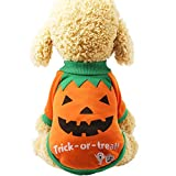 ENticerowts Sudaderas para Halloween, ropa para mascotas, cachorros, naranjas, calabazas, brujas, sudaderas, ropa suave para perros, 1# L