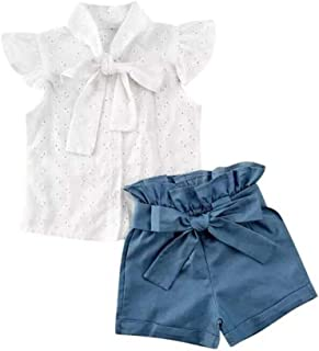Weixinbuy Kids Baby Girls Summer Clothes Set Bowknot Hollow Shirt Top High-Waist Short Pants Outfit Clothes 1-6 Years