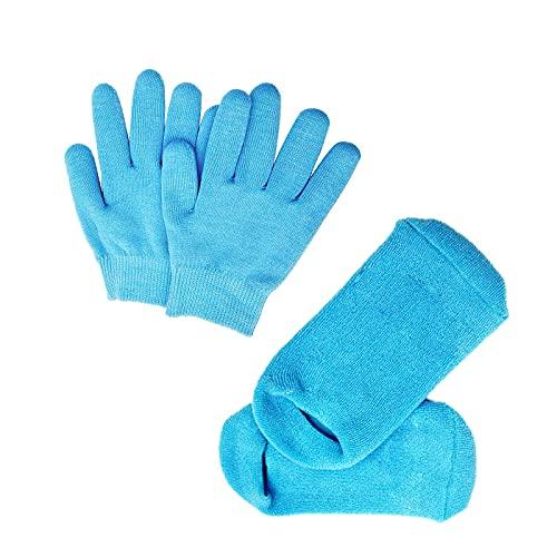 Pinkiou Calcetines de gel humectantes Calcetines de silicona suave para pieles secas y agrietadas Tacón agrietado Pies blanqueadores hidratantes (azul)