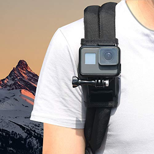ParaPace Backpack Shoulder Strap Mount for GoPro Hero 8/7/6/5s/5/4s/4/3+ Black/Session/Fusion, Pack Mount with 360 Degree Rotary Hook for DJI OSMO Action Campark SJCAM YI 4k Akaso, New Year Day Gift