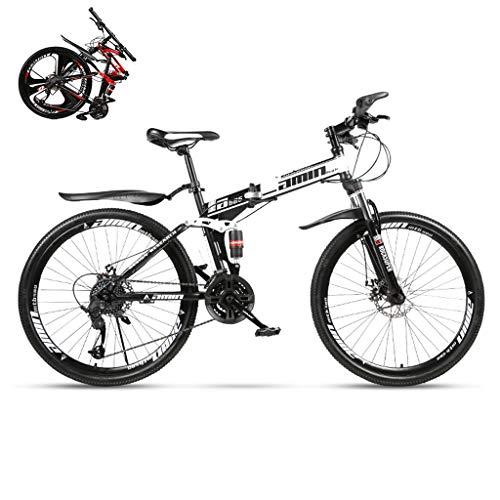 SJWR Mountain Bike Pieghevoli 24/26 Pollici, Bicicletta MTB con Ruota A Raggi per Uomo Donna Adulto,Black 21stage Shift,24inches
