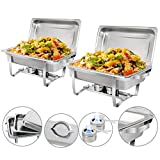 ZenChef New Version 8 Qt Stainless Steel Chafing Dish, Full Size Chafer, Food Warmer with Water Pan, Food Pan, Fuel Holder and Lid (2)