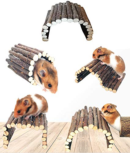 Beauy Girl 2 Pack Hamster Bridge Mouse Rat Ladder Wooden Bridge Toy, Small Animals Cage Wood Ladder, Small Animals Natural Hideout Chew Bridge Toy