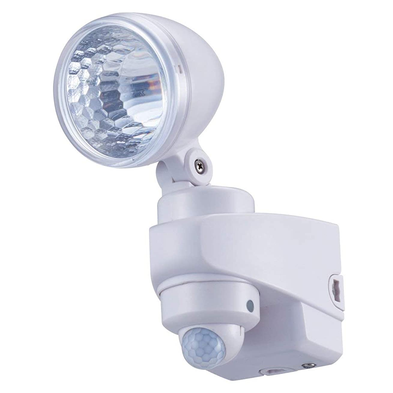 商業のハンドブック支店コーナン オリジナル 高輝度 1W LED センサーライト 1灯 乾電池式 防雨型 クランプ付 KFJ10-6152