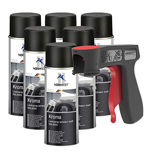 AUPROTEC Peinture aérosol Kroma Noir Mat Spray Vernis résistante à l'essence pulvérisateur 6X 400 ML + 1x poignée Originale pour Bombes aérosols