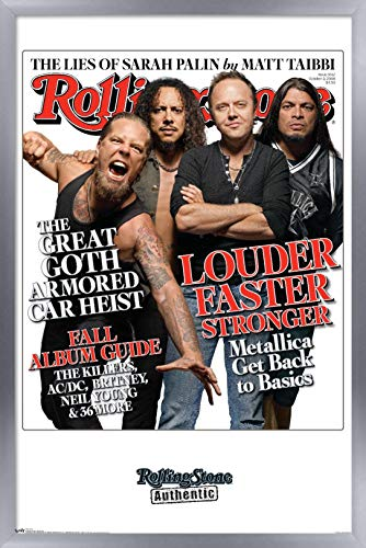 Trends International Rolling Stone Magazine - Metallica Wall Poster, 22.375' x 34', Silver Framed Version