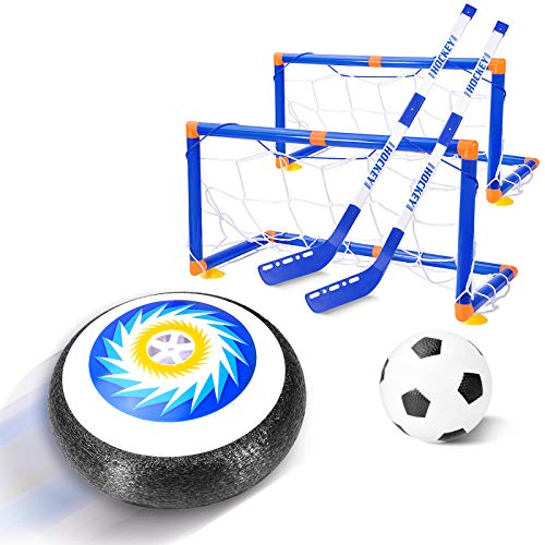 Tuptoel Boys Toys, Kids Indoor Hovering Hockey & Soccer Toys LED Home Hockey Game Set Multi-Player Game Holiday Toys Best Sports Gifts for Boys Age 3 4 5 6 7 8 9+