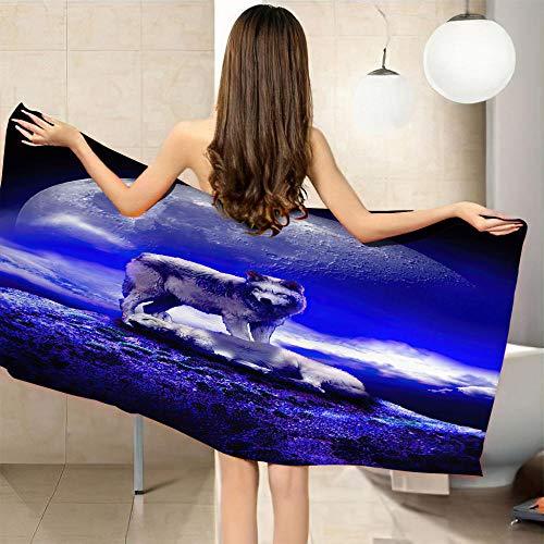 JYSZSD Infantiles Toallas de Playa Lobo Morado y Animal Microfibra 3D Toalla de Baño Toalla Estera de Playa para Niño Adulto Yoga Sauna Surf Travel 90x160cm