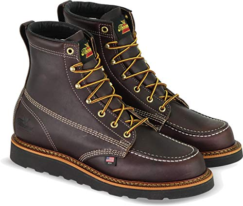 "Thorogood 6"" Moc Toe Wedge Non-Safety boot, Black Walnut, 8 D US"