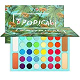 Docolor Eyeshadow Palette, Shimmer Matte 34 Colors Eye Shadow, Highly Pigmented Natural Warm Glitter Contour & Highlight Powder, Professional Long Lasting Waterproof Tropical Makeup Palette