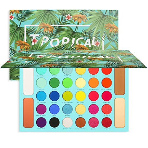 Tropical Eyeshadow Palette Docolor Highlight & Contour Pro Makeup Palette High Pigmented Eye Shadow Easy to Blend Color 34 Shades Glitter Metallic Matte Shimmer Professional Blush Highlighter Contour Powder Long Lasting Sweatproof and Waterproof Eye Makeup Christmas Gift