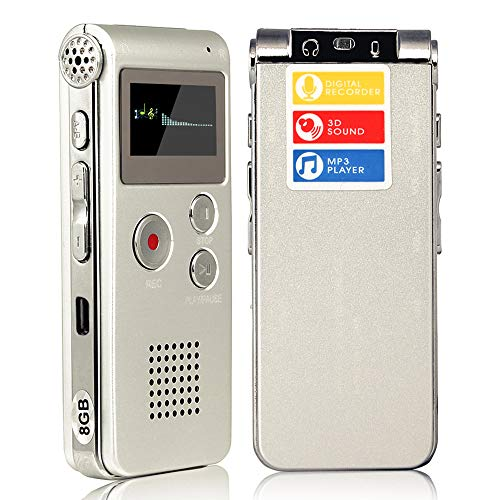 ACEE DEAL Digital Voice Recorder 8GB, Audio Voice Activated MP3 Player with Android USB Port, Multifunction Recorder Dictaphone with Built-in Speaker, Include Cables and Earphones Silver
