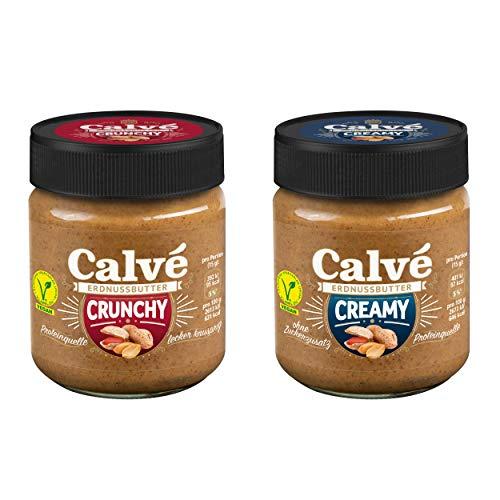 Calvé Erdnussbutter: 2x Calvé Erdnussbutter Creamy ohne Zuckerzusatz und 2x Calvé Erdnussbutter Crunchy mit Erdnussstückchen. Vegan. Protein-Quelle