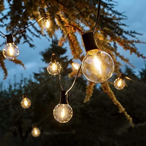 Albrillo Lichterkette Glühbirnen LED Außen, 8.23M Lichterkette Outdoor mit 25 G40 Birnen + 2 Ersatzbirnen aus unzerbrechlich Kunststof, Warmweiß für Innen Außen, Garten, Bar, Balkon, Hochzeit, Feier