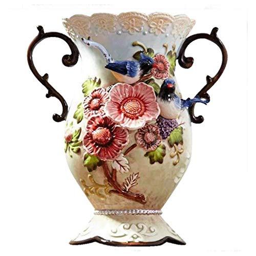 LILIS Vases Ceramic Flower Vases Creative Pastoral Large Ceramic Living Room Flower Arrangements Blue And White Peach Flowers Large Dried Flowers Flower