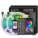 WRQING Tiras LED APP Controlada, Tira de Luz de Cambio de Color de Música con Control Remoto 40 Teclas Control Remoto IR 5050 Kit de Tira de Luz LED RGB para Hogar, Fiesta, Cocina (Size : 10M)