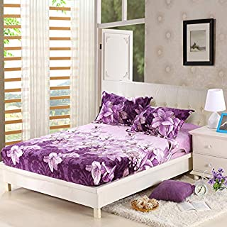 KFZ Fleece Fur Fitted Sheet Bedsheet Protector Without Pillowcases for Single Double Bed CA1808 Twin Full Queen King Lily Bunny Love Leaves Designs 1PC (Lily Flower, Purple, Queen 71